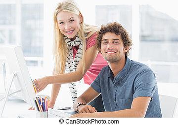 paar, bri, gebruik, ongedwongen, computer