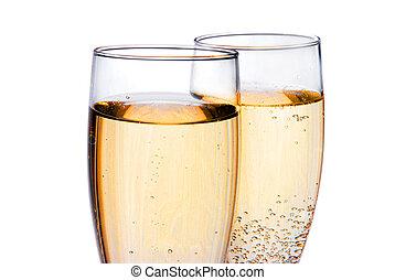 paar, bril, champagne