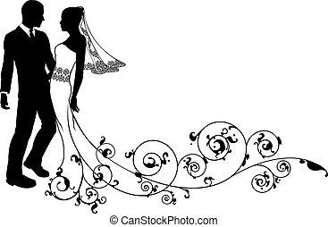 paar, bruidegom, trouwfeest, bruid, silhouette