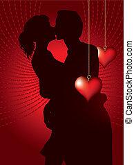 paar, bsilhouette, kussende