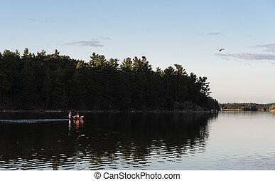 paar, canoeing, auf, a, nördlich , see