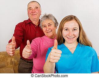 paar, caregiver, jonge, bejaarden, vrolijke