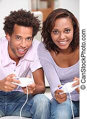paar, computerspiele, spielende