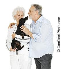 paar, dachshund, bejaarden