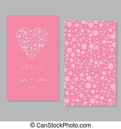 paar, -, datum, sparen, lesbische , kaart