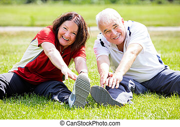 paar, doen, fitness oefening