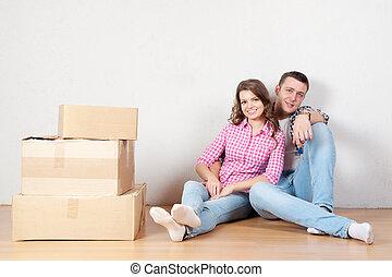 paar, dozen, jonge, pakking, verhuizing, nieuw, uitpakken, home., of, vrolijke
