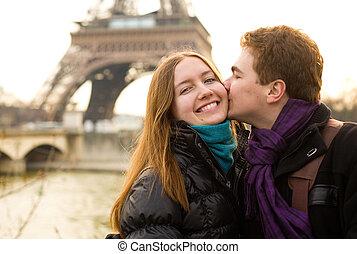 paar, eiffel, parijs, kussende , toren, hartelijk, vrolijke