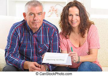 paar, eigendom, het ondertekenen van contract, verzekering