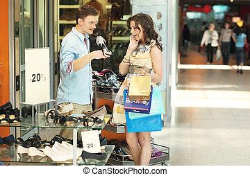 paar, einkaufszentrum, junger