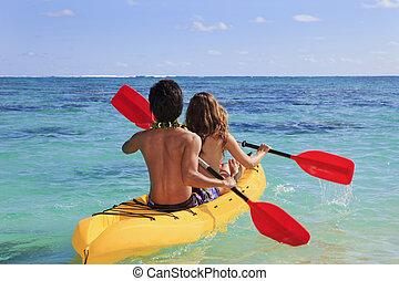 paar, elektroden, hun, kayak, in, een, coraal, baai
