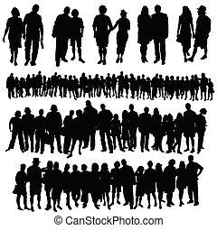 paar, en, groot, groep mensen, vector, silhouette