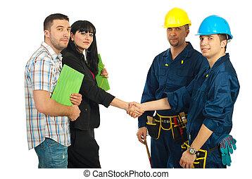 paar, en, werkmannen , team, overeenkomst
