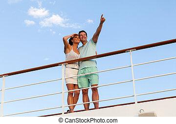paar, entspannend, draußen, auf, segeltörn
