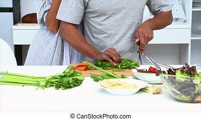 paar, essende, gemuese
