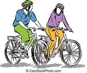 paar, fahren, bicycles, illustratio