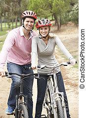 paar, fahrenden fahrrad, park