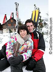 paar, feiertag, ski fahrend