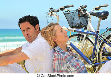 paar, fietsen, strand