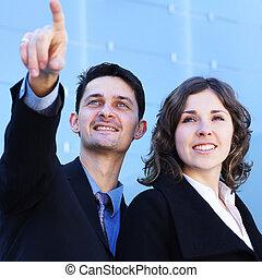 paar, formeel, bedrijfskleren