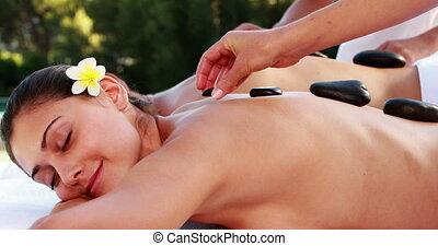 paar, genießen, a, heißer stein, massage
