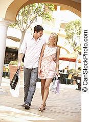paar, genießen, einkaufen reise, zusammen