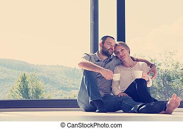 paar, genießen, morgenkaffee, romantische