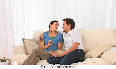 paar, genießen, tag valentines, zusammen