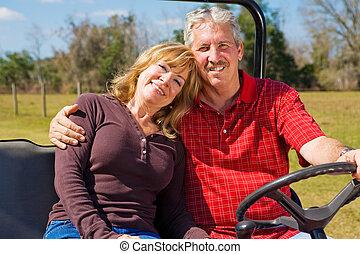 paar, gepensioneerd, vrolijke