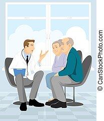 paar, gepensioneerde, in, kliniek