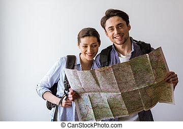 paar, gereed, aan reis