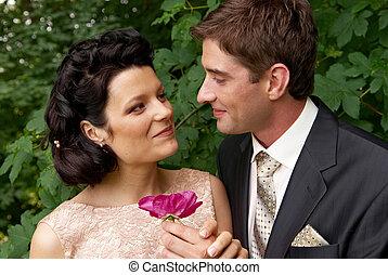 paar, getrouwd, buitenshuis