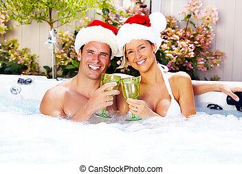 paar, glücklich, santa, weihnachten, jacuzzi.