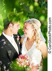 paar, glücklich, wedding