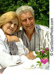 paar, goed, kaukasisch, bejaarden