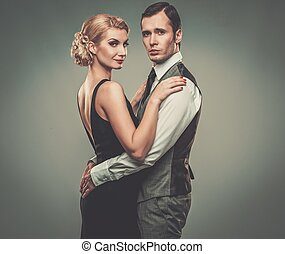 paar, gut-angekleidet, retro