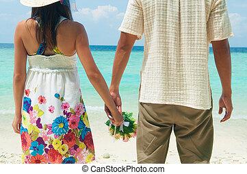 paar, hände halten