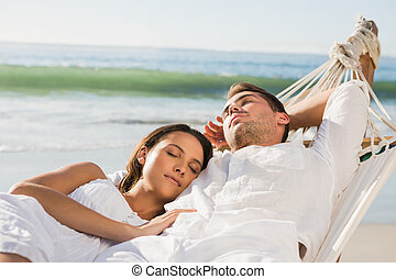 paar, hängemattte, eingeschlafen, friedlich