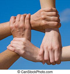paar, handen, het verbinden, om te, een, ketting, met, hemel