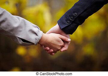 paar, handen, -, romaans, vasthouden, herfst