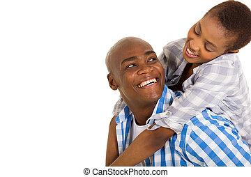 paar, hartelijk, jonge, afrikaan