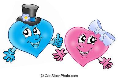 paar, hartjes, het glimlachen