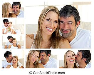 paar, het genieten van, moment, collage, van middelbare leeftijd
