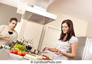 paar, het koken, jonge, samen, keuken