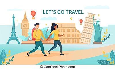 paar, het reizen, multiethnic, concept
