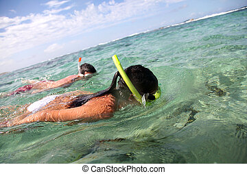 paar, het snorkelen, in, de caraïben, wateren