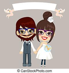 paar, hipster, trouwfeest