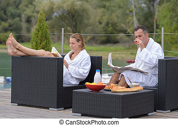paar, hotel, luxe, relaxen, zwembad