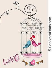 paar, houd van vogel, valentijn