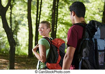 paar, hout, schooltas, trekking